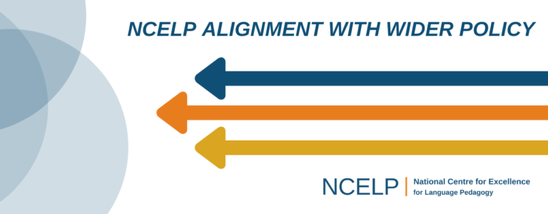 Text: NCELP alignment with wider policy, with decorative arrows