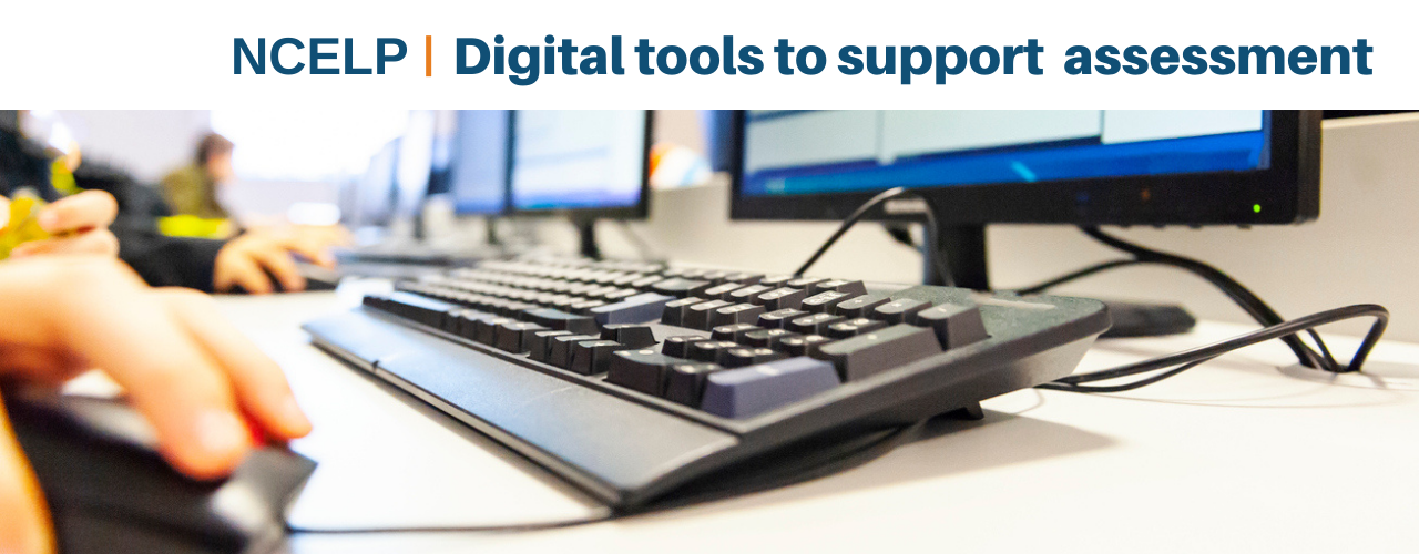 Image of keyboard and text: NCELP Digital tools to support assessments