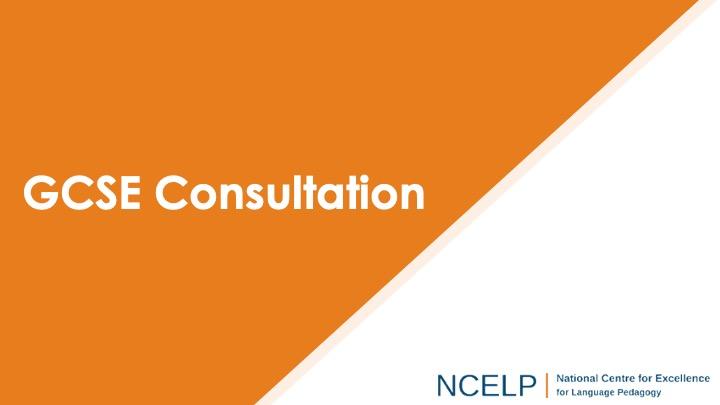 Title slide for GCSE consultation presentation