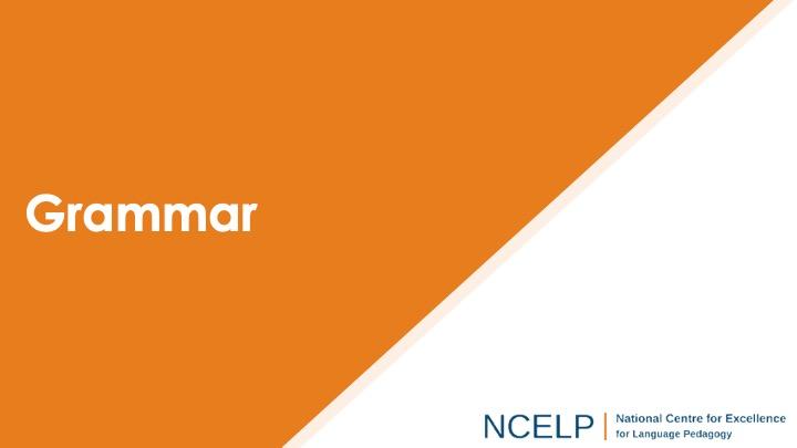 Title slide for the grammar presentation