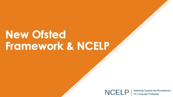 Title slide for the new ofsted framework presentation