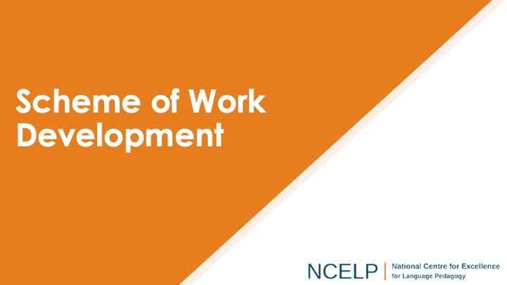Title slide for the scheme of work presentation