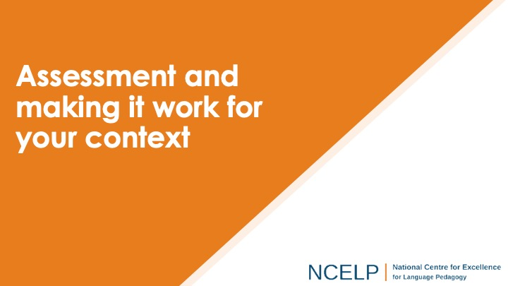 Title slide for assessment and making it work for you context presentation
