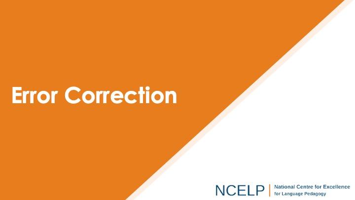 Title slide for the error correction presentation
