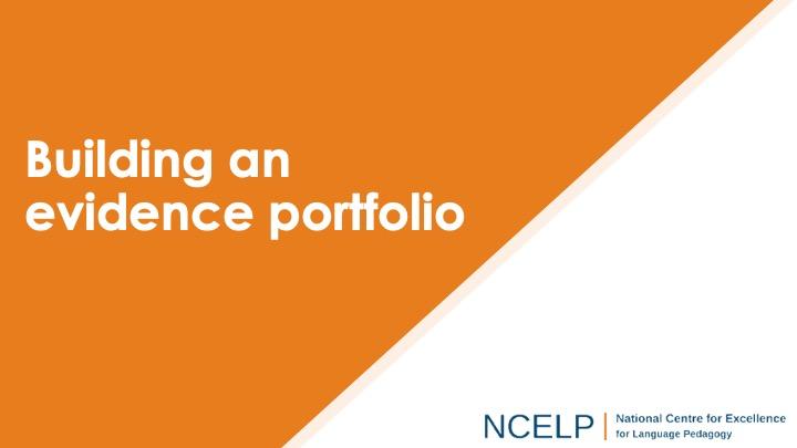 Title slide for building an evidence portfolio presentation