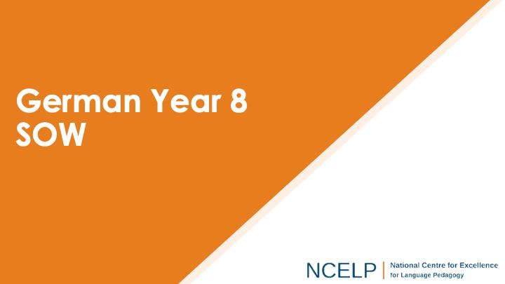 Title slide for german year 8 scheme of work presentation