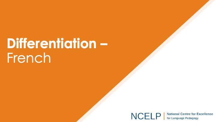 Title slide for the presentation on differentiation in French teaching materials