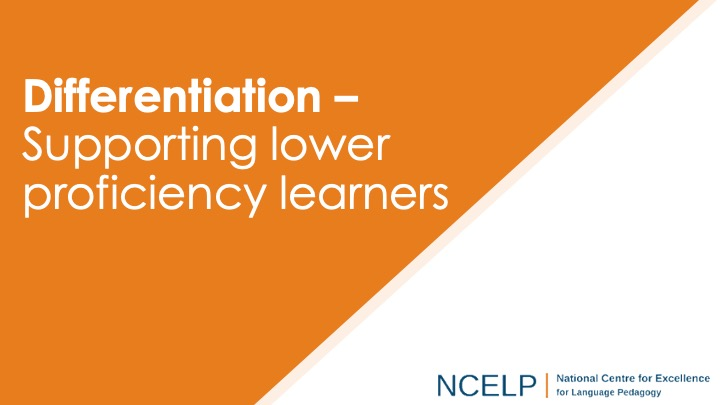 Title slide for differentiation supporting lower proficiency learners presentation