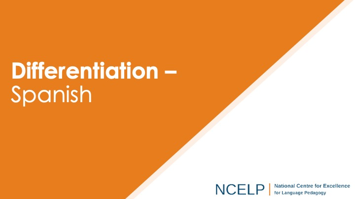 Title slide for the presentation on differentiation in Spanish teaching materials