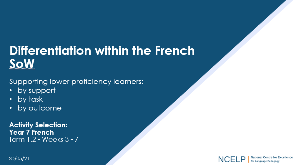 Image of PPT with text: Differentiation within the French SOW