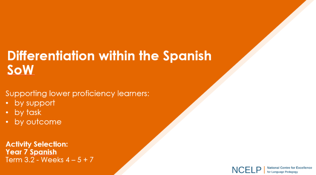 Image of PPT with text: Differentiation within the Spanish SOW