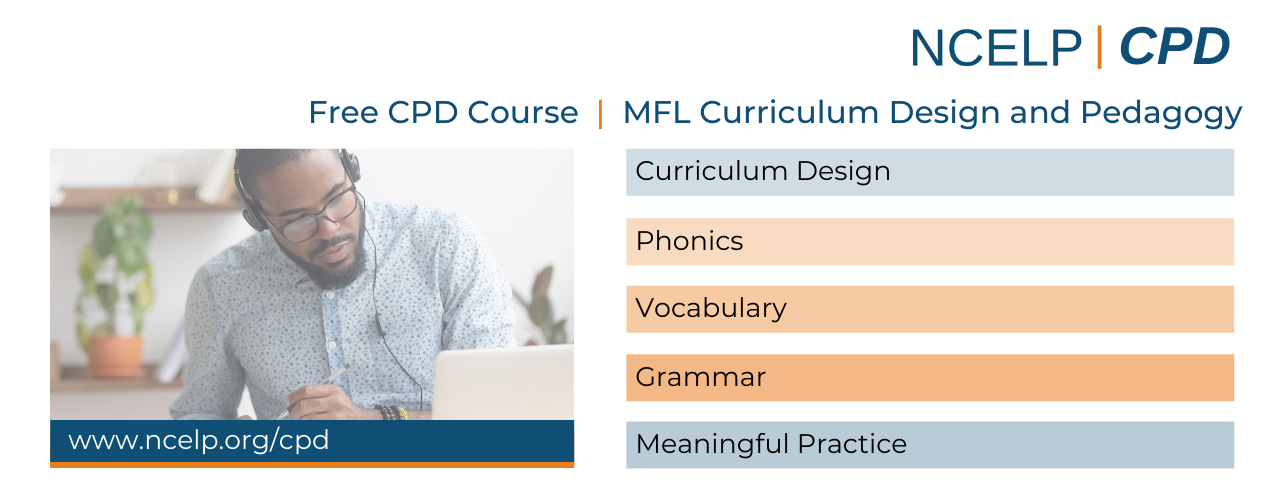 Image with CPD modules: Curriculum Design, Phonics, Vocabulary, Grammar, Meaningful Practice