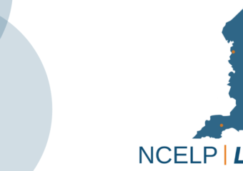 Image of a map with dots representing hub locations and logo of NCELP: Lead School